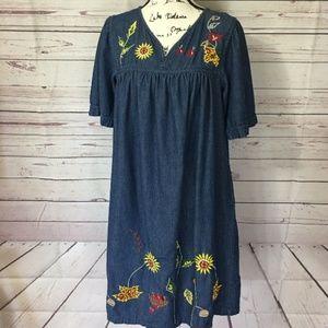 Vtg Denim Blue Jean Floral Embroidered House dress